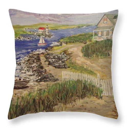 Home Throw Pillow featuring the painting Cozy Home by Mike Caitham
