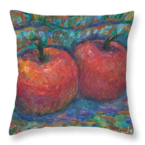 Kendall Kessler Throw Pillow featuring the painting Cozy by Kendall Kessler