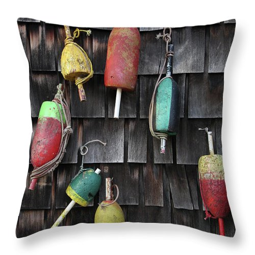Cedar Tree Throw Pillow featuring the photograph Crab Pot Floats by Photo By Wayne Bierbaum; Annapolis, Maryland