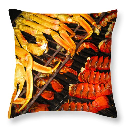 Lobster Throw Pillow featuring the photograph Crab Vs. Lobster by Anthony Scarpace