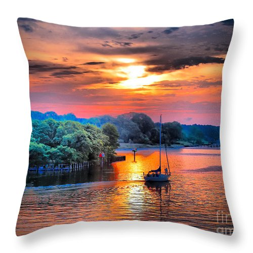 Sailboat Throw Pillow featuring the photograph Crack O' Dawn by Robert McCubbin