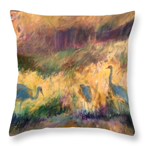 Cranes Throw Pillow featuring the painting Cranes In The Grain by Alaskan Raven Studio