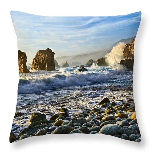 Soberanes Point Throw Pillow featuring the photograph Crash - Waves From Soberanes Point In Garrapata State Park In California. by Jamie Pham