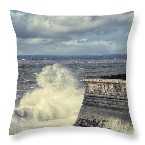 Whitehaven Throw Pillow featuring the photograph Crashing Waves by Amanda Elwell