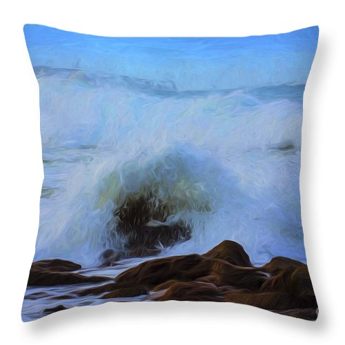 Crashing Waves Throw Pillow featuring the photograph Crashing waves by Sheila Smart Fine Art Photography