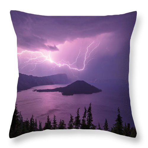 Crater Storm Throw Pillow featuring the photograph Crater Storm by Chad Dutson