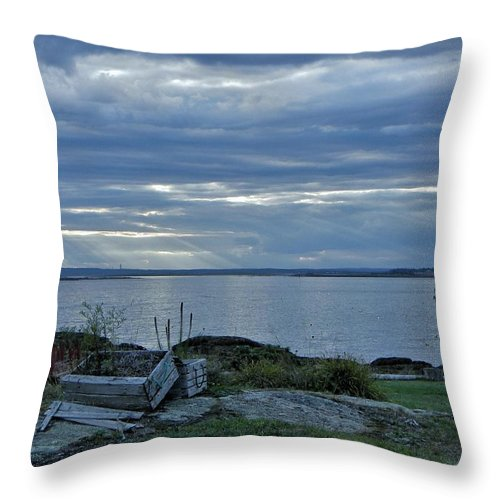 Sea Throw Pillow featuring the photograph Crates By The Sea by Jean Goodwin Brooks