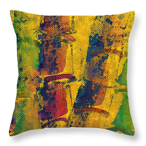 Crazy Bamboo Throw Pillow featuring the painting Crazy Bamboo by Janet Gunderson
