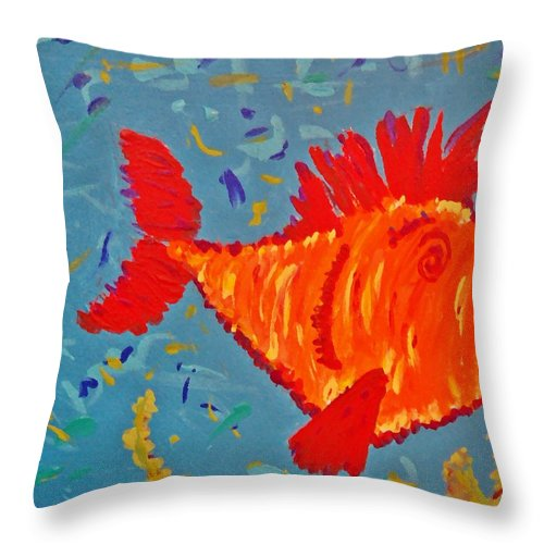 Fish Throw Pillow featuring the painting Crazy Fish by Yshua The Painter