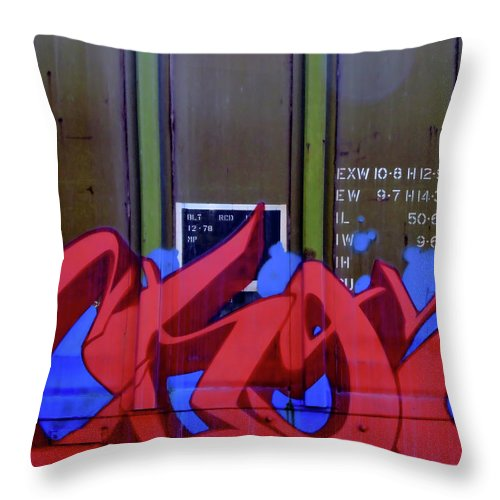 Graffiti Throw Pillow featuring the photograph Crazy Red by Donna Blackhall