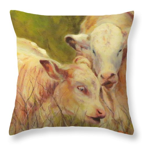 Calves Throw Pillow featuring the painting Cream And Sugar, Cows by Sandra Reeves