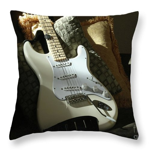 Guitar Throw Pillow featuring the photograph Cream Guitar by Kelly Holm