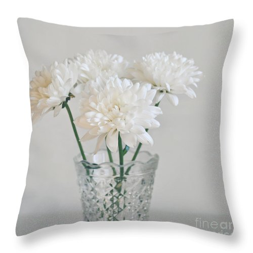 Creamy White Flowers In Tall Vase Throw Pillow For Sale By Lyn Randle
