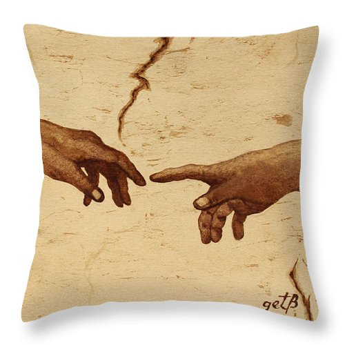 Creation Of Adam Throw Pillow featuring the painting Creation Of Adam Hands A Study Coffee Painting by Georgeta Blanaru