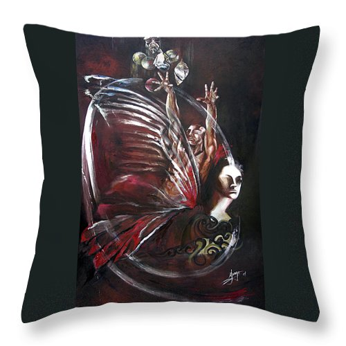 Butterflies Throw Pillow featuring the painting Creation Of Subspecies by Karina Llergo