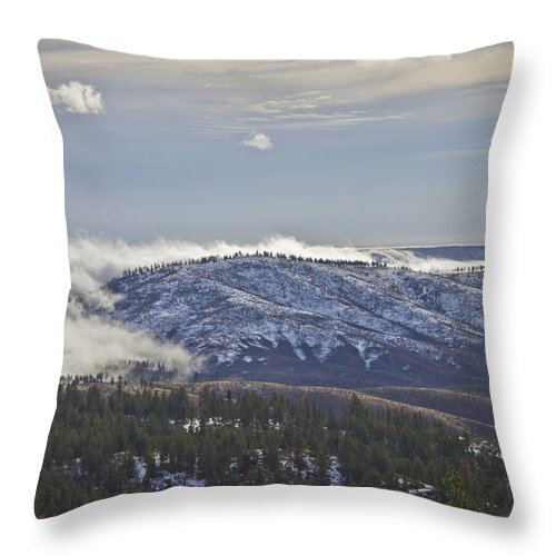 Mountain Throw Pillow featuring the photograph Creeping Fog by Andrea Goodrich