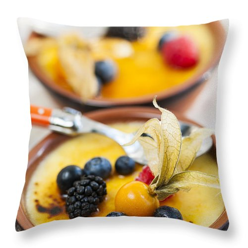 Creme Brulee Throw Pillow featuring the photograph Creme Brulee Dessert by Elena Elisseeva