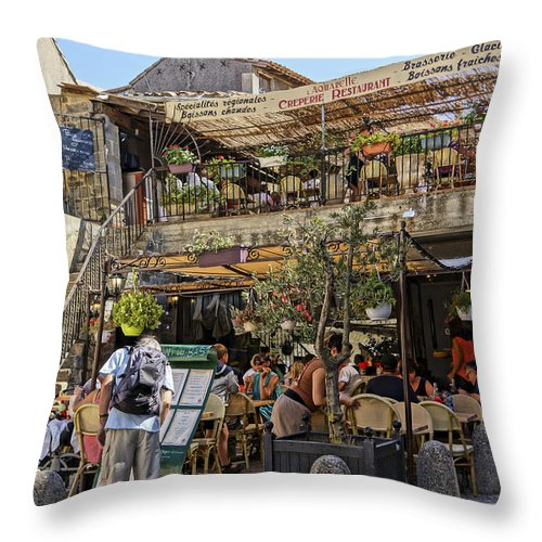 Restaurant Throw Pillow featuring the photograph Creperie Restaurant Carcassonne Dsc01697 by Greg Kluempers
