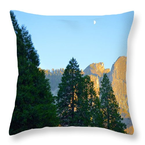 Yosemite Throw Pillow featuring the photograph Crescent Moon Over Mountain by Marcy Wagman