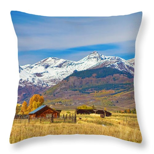 Crested Butte Throw Pillow featuring the photograph Crested Butte Autumn Landscape Panorama by James BO Insogna