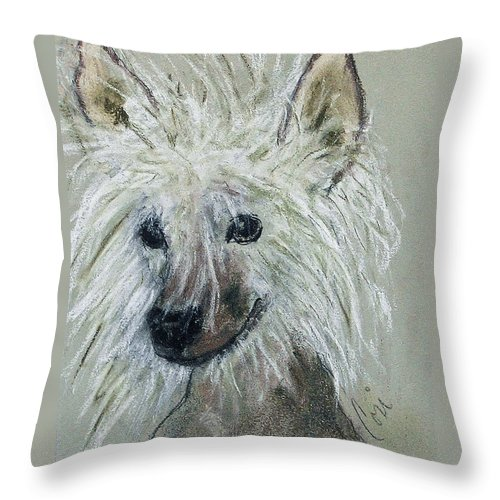 Chinese Crested Throw Pillow featuring the drawing Crested Star by Cori Solomon