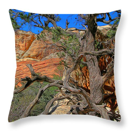 Red Rock Canyon Tree Throw Pillow featuring the photograph Cricked Old Fella by Chris Brannen