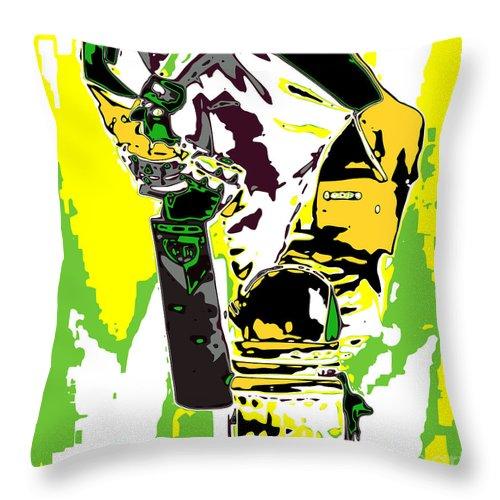 Batsman Throw Pillow featuring the digital art Cricketer by Chris Butler