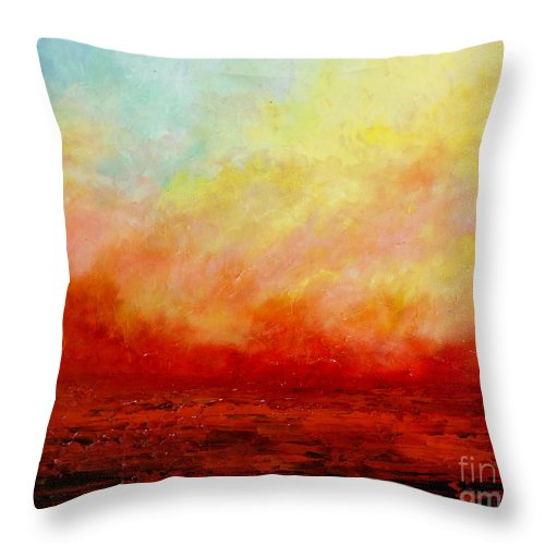Palette Knife Throw Pillow featuring the painting Crimson by Teresa Wegrzyn