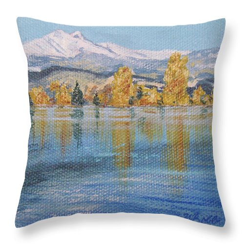 Longs Peak Throw Pillow featuring the painting Crisp Morning by Margaret Bobb