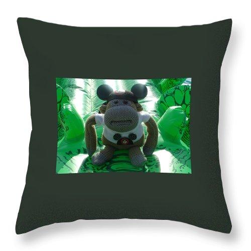 Crocodile Throw Pillow featuring the photograph Croc Riding Monkey by David Nicholls