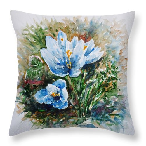 Crocuses Throw Pillow featuring the painting Crocuses by Zaira Dzhaubaeva
