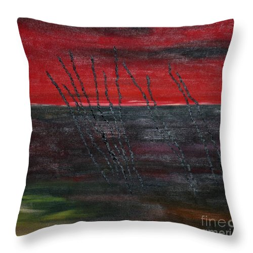 Painting Throw Pillow featuring the painting Crooked Lines by Susanne Baumann