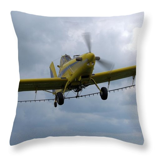 Airplane Throw Pillow featuring the photograph Crop Duster by Bonfire Photography