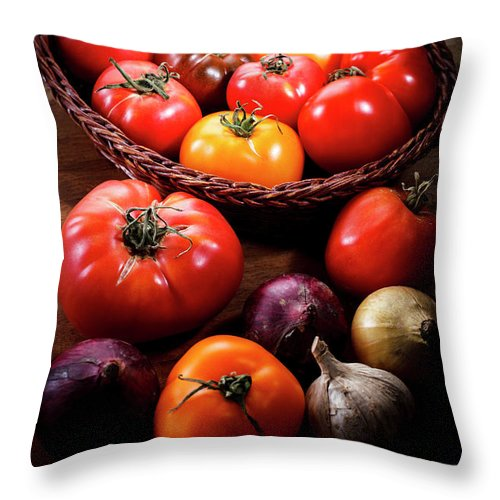 Yield Sign Throw Pillow featuring the photograph Crop Tomatoes by Letty17
