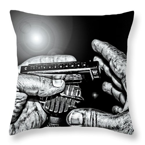 Music Throw Pillow featuring the photograph Cross-harp Blues by Robert Frederick