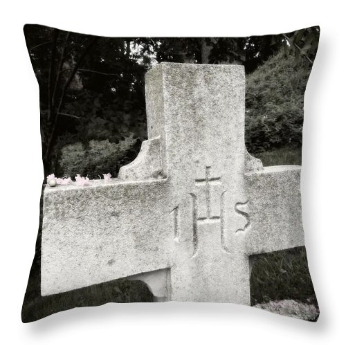 Ihs Throw Pillow featuring the photograph Cross Iconic Ihs by Christena Stephens