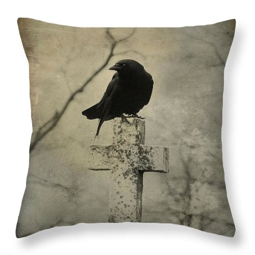 Crow On Cross Throw Pillow featuring the photograph Crow On A Crooked Old Cross by Gothicrow Images