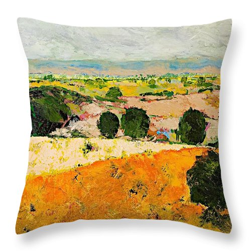 Landscape Throw Pillow featuring the painting Crossing Paradise by Allan P Friedlander