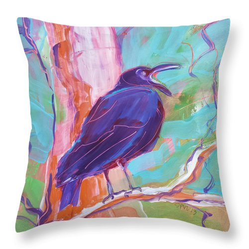 Crow Throw Pillow featuring the painting Crow In The Tree 3 by Pam Van Londen