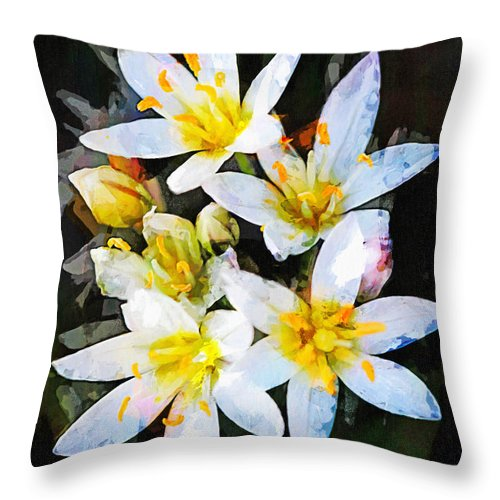 Nothoscordum Bivalve Throw Pillow featuring the painting Crow Poison No. 2 by Susan Schroeder