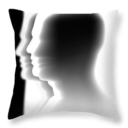 Head Throw Pillow featuring the digital art Crowd by Michal Boubin
