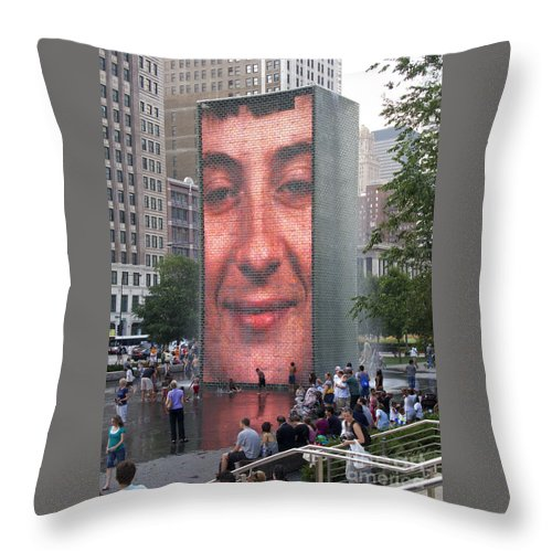 Chicago Throw Pillow featuring the photograph Crowd Watching by Ann Horn