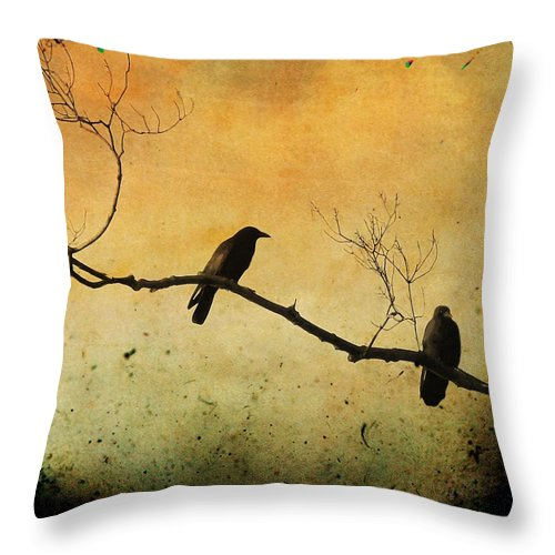 Two Crows Throw Pillow featuring the photograph Crowded Branch by Gothicrow Images