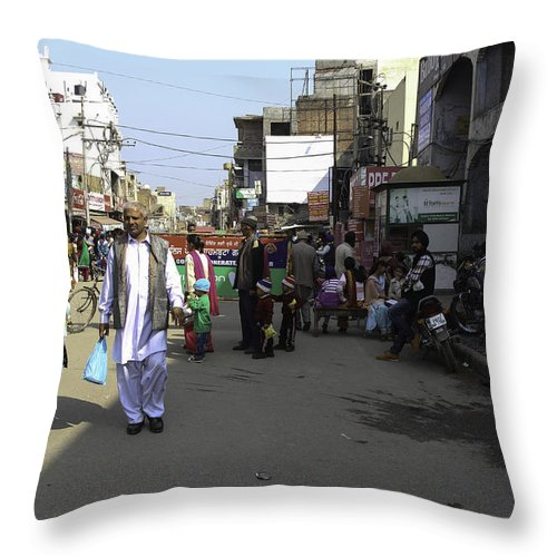 Amritsar Throw Pillow featuring the photograph Crowded Street And Devotees In Front Of Golden Temple In Amritsar by Ashish Agarwal