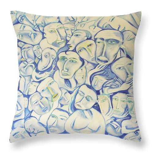 Blue Faces Throw Pillow featuring the painting Crowding My Head by Jelila