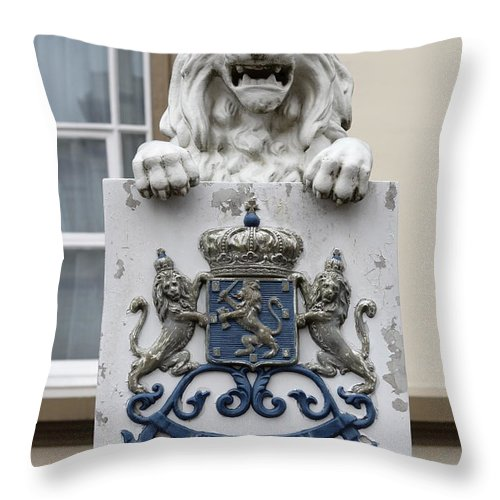 Crowned Lion Throw Pillow featuring the photograph Crowned Lion by Ronald Jansen