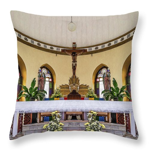 Altar Throw Pillow featuring the photograph Crucifix And Angels by Maria Coulson