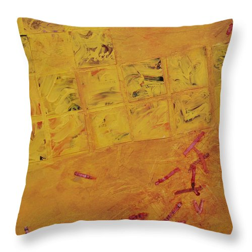 Abstract Throw Pillow featuring the painting Cruciform In Yellow Recycled by Heidi E Nelson