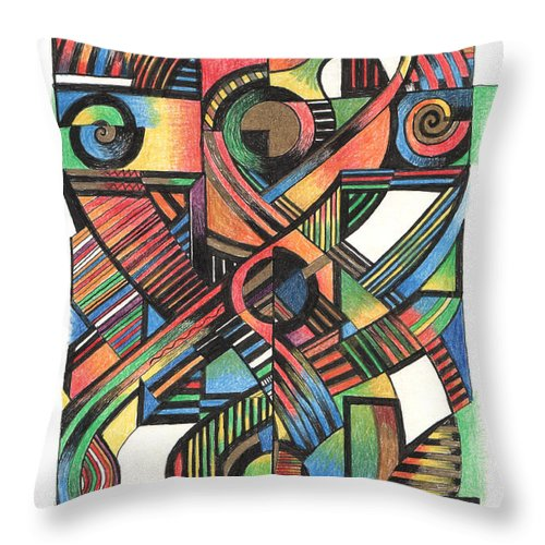 Crucifix Throw Pillow featuring the drawing Cruciform Ix by Andy Mercer