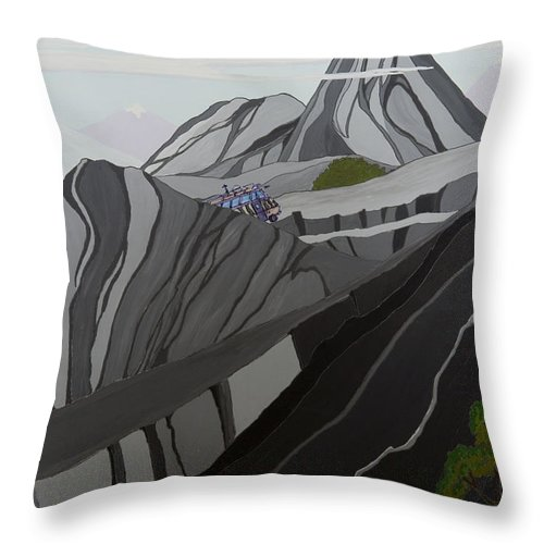 Wild Thornberrys Animation Background Andes Humvee Cartoons Klasky Csupo Throw Pillow featuring the painting Cruisin' The Andes by Brenda Salamone